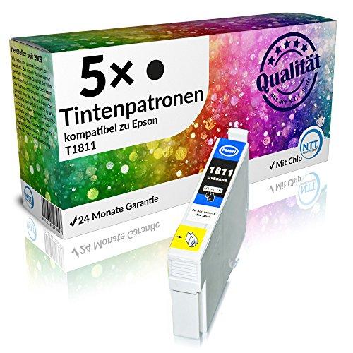 N.T.T.® 5 x Stück XL Druckerpatronen / Tintenpatronen kompatibel zu T1811 BK / Schwarz Epson Expression Home XP-102 ; XP-202 ; XP-205 ; XP-30 ; XP-302 ; XP-305 ; XP-402 ; XP-405 ; XP-405WH; XP-212 ; XP-215 ; XP-312 ; XP-315 ; XP-412 ; XP-415