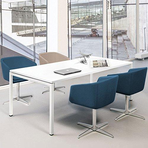 PROFI Besprechungstisch 180x80cm NOVA U 4-6 Pers. Konferenztisch Meetingtisch , Gestellfarbe:Weiß