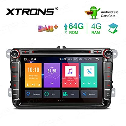 XTRONS-8-Android-90-4GB-RAM-64GB-ROM-Octa-Core-Autoradio-mit-Touchscreen-DVD-Player-untersttzt-4G-WiFi-Bluetooth-DAB-OBD2-CAR-Auto-Play-TPMS-Musik-Streaming-FR-VWSEATSkoda