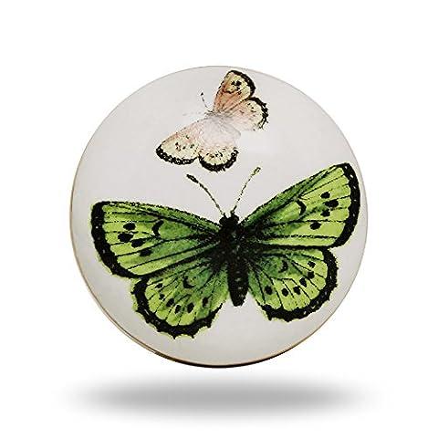 Ceramic Green and Pink Butterfly Knob Kitchen Cabinet Cupboard Door Knobs Dressser Wardrobe and Drawer Pull By Trinca-Ferro