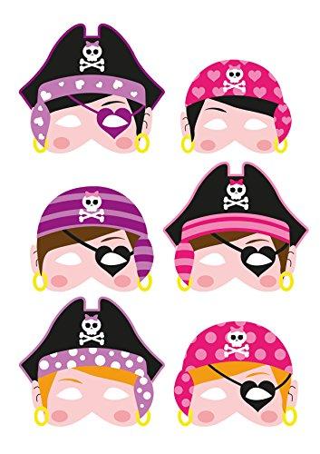 Henbrandt 6 Mädchen Piraten-Schaummasken Kostüm Zubehör Kinder Krippe Party Tasche (Krippe Kostüm)