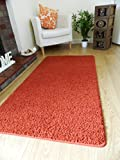NEW SOFT PLAIN SHAGGY MATS MACHINE WASHABLE NON SLIP LARGE SMALL BEDROOM RUGS (50 x 80cm) (Terra)