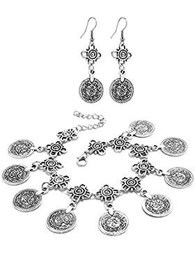 2LIVEfor Fußkette + Ohrringe orientalisch Ornament Zeichen Silber Damen Anhänger Münzen groß Antik Fusskettchen...