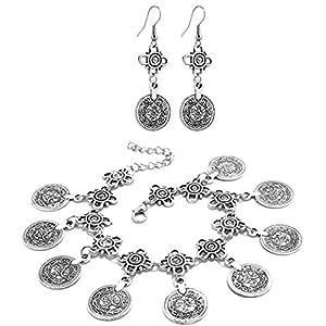 2LIVEfor Fußkette + Ohrringe orientalisch Ornament Zeichen Silber Damen Anhänger Münzen groß Antik Fusskettchen silber Knöchelkette Antik Damen Fußkette Mädchen Vintage Fusskette Boho