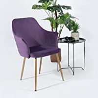 H.J WeDoo Velvet Dining Chairs, Modern Style Armchair Upholstered Back and Cushion, Metal Legs in Spray Gold Finish - Purple