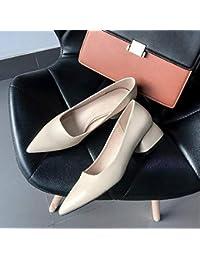 HhGold Zapatos de Corte Zapatillas afiladas de tacón bajo, Poco Profundas, para Mujeres,