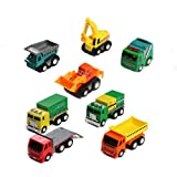 Pull Push Back Truck Mini Cars 8 Pcs Model Toy Sets Working Vehicle Truck Series Great Gift for Boys and Girls above 3 Years old (mini cars set)