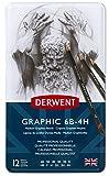 Derwent Graphic Medium Graphite Pencils, 6B-4H - Set of 12