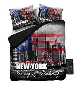 Sleeptime housse de couette new york 200x200 220 gris for Housse de couette 200x200 new york
