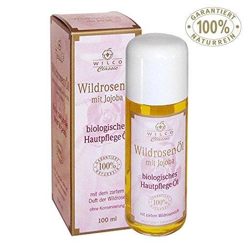 Wildrosen-Öl, Wilco Classic, 100% Naturrein, für Körper und Gesicht. Gesichts und Haut-Öl. Mit zartem Duft der Wildrose aus erster Pressung. Körper-Öl Purer Luxus für den gesamten Körper. Anti-Falten/Anti-Aging aus der Natur. … (100ml)