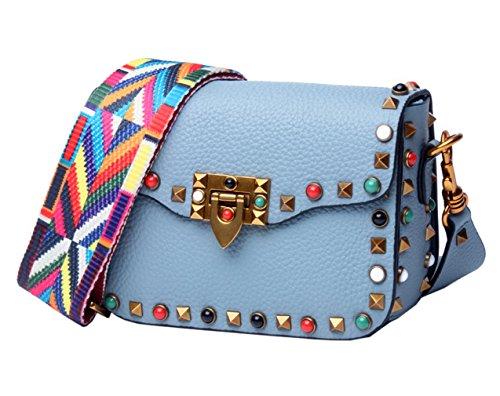 SAIERLONG Nuovo Donna Azzurro Vera Pelle Borse Crossbody Sacchetti di spalla