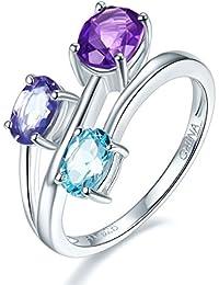 Joyería Hutang de plata de ley amatista Natural, aguamarina y anillo Iolite