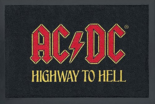 Design Felpudo alfombra Felpudo fussabstreifer Felpudo alfombra Felpudo sauberlaufmatte türfussmatte Felpudo con texto en alemán (40x 60cm, AC/DC Highway to. AC DC Hell negro