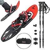 Racchetta da neve ALPIFLEX 29 con borsa di Alpidex - a scelta con o senza bastoncini telescopici Hiker 5000, Colore:Flexi-Red con bastoncini