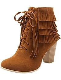 63709edff721 AIYOUMEI Damen Blockabsatz High Heels Stiefeletten mit Schnürung und  Fransen Ankle Boots Schuhe Schnürstiefel…