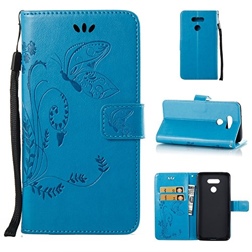 Solid Color Faux Leder Bookstyle Brieftasche Stand Case mit geprägten Blumen & Lanyard & Card Slots für LG G6 ( Color : Coffee ) Blue