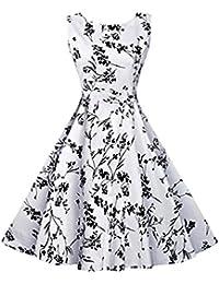 Futurino Damen Weinlese Nobles Blumen 1950s Audrey Hepburn Schaukel Midi Kleid