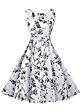 FUTURINO Women's Casual Vintage Classy Floral 1950s Audrey Hepburn Midi Dress (XXL, White and Black)