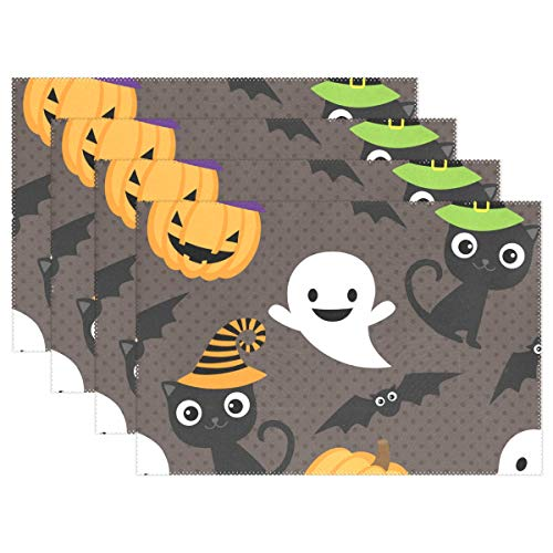t von 6Halloween Muster Cute Boo Ghost Black Cat 30,5x 45,7cm Waschbar Stoff hitzebeständig für Esstisch 12x18x4 in Mehrfarbig ()