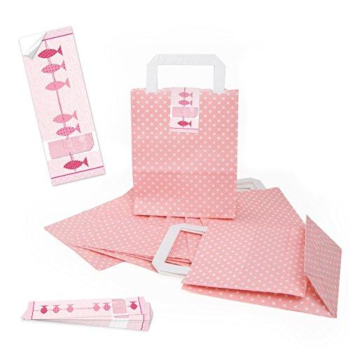 25 kleine Papiertüten Papier-Tragetaschen ROSA gepunktet 18 x 8 x 22 + 25 Aufkleber 3 FISCHE pink Verpackung Trage-Griff Kommunion Taufe Geburtstag give-away Gast-Geschenk