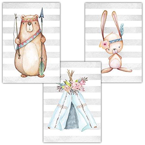 Frechdax® 3er Set Kinderzimmer Babyzimmer Poster Bilder DIN A4   Mädchen Junge Deko   Dekoration Kinderzimmer   Waldtiere REH Fuchs Hase (3er Set Indianer,Bär,Tipi,Hase)