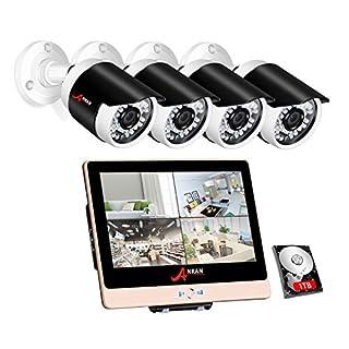 ANRAN POE Überwachungskamera System Set, 1080P 4 Channels 12inch LCD-Videogerät DVR-Ausrüstungen w/ 4PCS 2.0 Megapixel Netz PoE CCTV-Kugel-Kamera 3.6mm Linse im Freien IP66 1TB Innenfestplatte