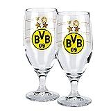Borussia Dortmund 2er Set Glas / Bierglas / Pilsglas / Tulbe / Trinkglas - Erfolge BVB 09 - plus gratis Aufkleber forever Dortmund