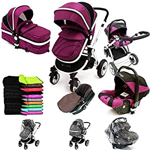 i-Safe System - Plum Trio Travel System Pram & Luxury Stroller 3 in 1 Complete with Car Seat + Footmuff + Carseat Footmuff + RainCovers   8