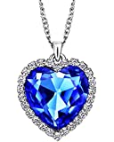 Neoglory® Jewellery Heart of Ocean Blue Crystal Charm Necklace White Gold Plated for Women
