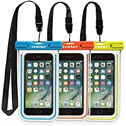 [IPX8 Certificado] iVoler [3 Unidades] Funda Bolsa Móvil Impermeable Universal 6.2 Pulgadas para iPhone X, 8, 8 Plus, 7, 7 Plus,6 / 6s Plus, SE 5S 5C, Samsung Galaxy S9/S9 Plus/S8/S8+/S7/S7 Edge/S6/S6 Edge/Edge+, Huawei P20/P20 Lite/P10/P10 lite, BQ Aquaris, LG, Sony, Motorola, Monedas, Pasaporte, etc. (Azul+Verde+Naranja)