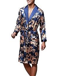 OLIPHEE Herren Satin Bademäntel Paisley Pattern Kimono Morgenmantel