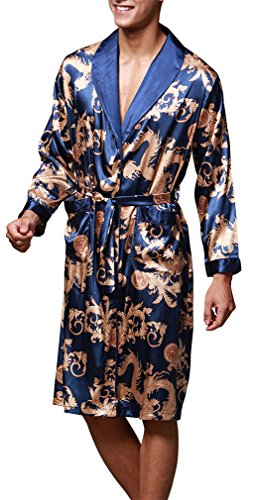 OLIPHEE Herren Satin Bademäntel Paisley Pattern Kimono Morgenmantel Saphirblau-1 EUR M (Asien XL) Paisley-satin-band