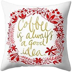 """display08carta frase de cojín manta funda de almohada sofá Fashion de decoración para el hogar, poliéster, 2#, 17.72"""" x 17.72"""""""