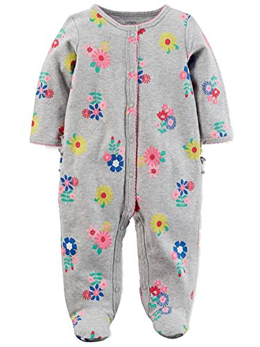 Footie Sleeper (Carter's Infant Girls Gray Floral Cotton Sleeper Footie Pajamas Sleep & Play)