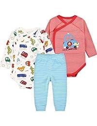 3 Piezas Set Bodys Bebé Manga Larga + Pantalones Recién Nacido Traje De Sistema De La Ropa