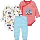 Baby Jungen Langarm-Body mit Hosen 3pcs Bekleidungsset Baumwolle Geschenkset