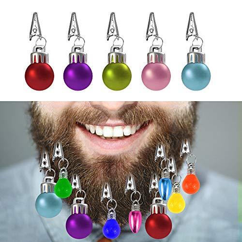 Locisne Bunt 12 Mini Beard Christbaumkugeln Dekorationen Kugeln mit Haarnadeln Neuheit Spaß Festliches Geschenk für Weihnachten