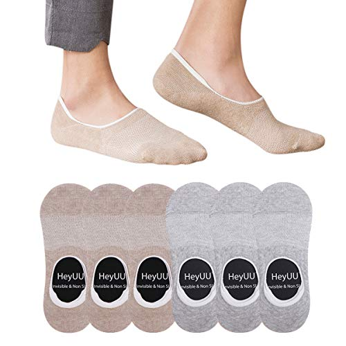 HeyUU Baumwolle Füßlinge Unsichtbare Sneaker Socken Mit 8 Rutschfeste Silikonstreifen Nicht Fallen Socken Rutschfestes