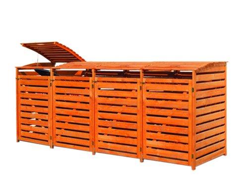 Mülltonnenbox für vier 240 Liter Tonnen in Holz, Farbe Honigbraun