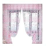 VORCOOL Gardine Vorhang Transparent Voile mit ösen 100x200cm Blumen Druck Dekoschal Schlafzimmer Wohnzimmer Fenster Balkon Gardinen Schal (Rosa)