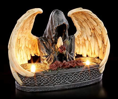 Figuren Shop GmbH Gothic Teelichthalter für 2 Teelichte- Grim Reaper | Gruseliger Kerzenhalter mit geflügeltem Sensenmann, Fantasy Dekoartikel, handbemalt