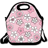 Custom Pink Blossoms Reusable Ziplock Crossbody Picnic Bag Design For Office Portable Lunch Box Cooler Back To School Lunch Bag Lunch Tote Bag Box For Boys Girls
