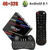Android 8.1 TV Box , H96 Max Plus 4GB RAM + 32GB ROM Smart TV Box with RK3328 Quad-Core Cortex-A53 64bit CPU, Support 2.4G WiFi, 3D, 4k, USB3.0, Mini Wireless Backlight Keyboard