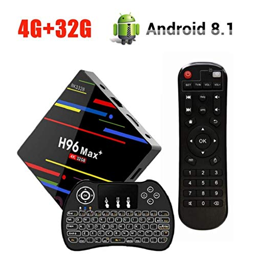 Android 8.1 TV Box , H96 Max Plus 4GB RAM + 32GB ROM Smart TV Box with RK3328 Quad-Core Cortex-A53 64bit CPU, Support 2.4G WiFi, 3D, 4k, USB3.0, Mini Wireless Backlight Keyboard