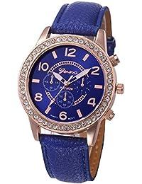 Kinlene Moda reloj de mujer ginebra diamante relojes de pulsera de cuarzo de cuero analogico casual