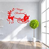 Decorie Magic Christmas Deer Carriage Vinyl Wall Stickers for Home Decor 58*45cm (Red)