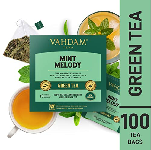 VAHDAM, Minze Melodie Grüner Tee, 100 Count   Garten frische Minze Teebeutel   100 natürliche Pfefferminz-Teebeutel  Grüner Tee Beutel 100 Count   100{43b1696a4a8a8596e70d98c59857476114ee45158af80d7ae2cb67ba0b1c4498} natürlicher grüner Tee   Heiß oder ICed brauen