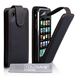 Yousave Accessories TM Tasche Für Das Apple iPhone 3 / 3G /3GS Leder Flip Schutzhülle Schwarz Mit Displayschutz Folie Und Graues Micro Faser Poliertuch