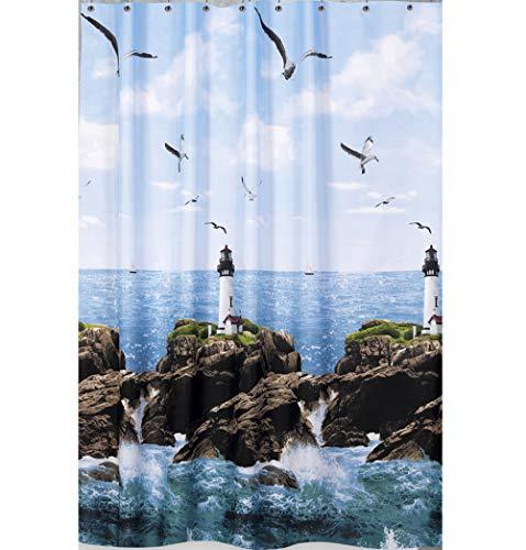 """Edler Textil Duschvorhang 120 x 200 cm """"Leuchtturm am Meer"""" Blau Weiss Grün inkl. Ringe thumbnail"""