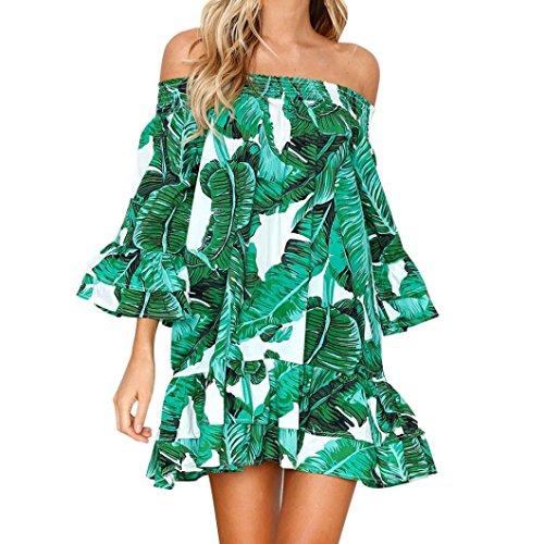 rauen Sexy Blätter Blumendruck Off Schulter Rüschen Halb Ärmel Loose Kleid Prinzessin Kleid Benutzerdefinierte Kleidung (XL, Grün) (Benutzerdefinierte Kostüme Für Frauen)